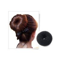 SODIAL- BLACK BUN HAIR FORMER DONUT DOUGHNUT SHAPER RING STYLER HAIRDRESSING Diameter:9cm