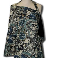 Breastfeeding nursing cover Tattoo Zen Teal by mamasanmaternity