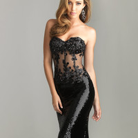 Black Bead Lace &amp; Sequin Sheer Strapless Prom Dress - Unique Vintage - Cocktail, Pinup, Holiday &amp; Prom Dresses.