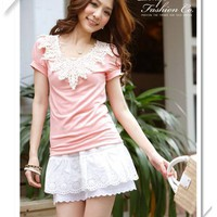Retro Style Beautiful and Distinctive Crochet Design Short Sleeve T-Shirt China Wholesale - Sammydress.com