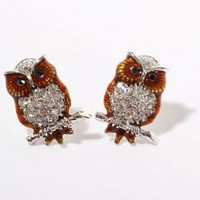 TX-1768E Fashionable Owl Shaped and Australian Crystal Inlaid Pierced Earring Ear Ornament for Female (Brown with Silvery)