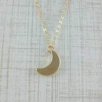 Tiny Gold Crescent Moon Necklace- Little Gold Moon- 14k Gold Filled Chain