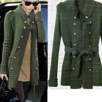 Double-breasted dark green Lapel cotton sweater:Buy at Sheinside