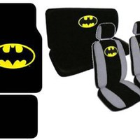 15pc Batman Combo with Front and Rear Carpeted Floor Mats, Front Low Back Seat Covers with Head Res