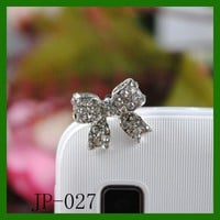 Bow Rhinestone JP-027-Silver Dust Plug / Earphone Jack Accessory / Ear Cap / Ear Jack for Iphone /