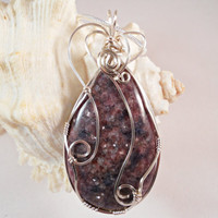 Wire Wrap Jewelry, Purple Jasper Pendant, Handmade Jewelry
