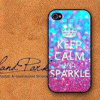 Keep calm and Sparkle iPhone 4 Case, iPhone 4s Case, iPhone Case, iPhone hard Case