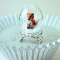 Winter Fox Ring Handmade Miniature Polymer clay by DIVINEsweetness