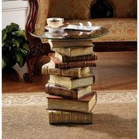 Power of Books Sculptural Glass-Topped S...
