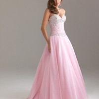 Pink Beaded Taffeta & Tulle Corset Strapless Prom Gown - Unique Vintage - Cocktail, Pinup, Holiday & Prom Dresses.