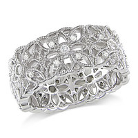Miadora Sterling Silver 1/3ct TDW Diamond  Ring (H-I, I3) | Overstock.com