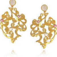 Monica Vinader | Lace 18-karat gold-vermeil earrings | NET-A-PORTER.COM