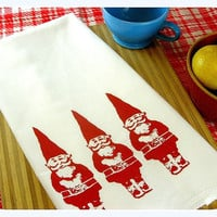 Kitchen Towel Red Gnome Tea Towel CUTE screenprint retro kitchen Indie Housewares