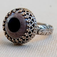 Gypsy Eye - Vintage Lucite and Sterling Silver Ring - Your Size