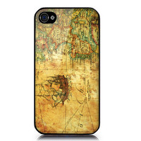 iPhone 4/4S case includes screen protector and cleaning cloth  Vintage Map Design. Available in black or white