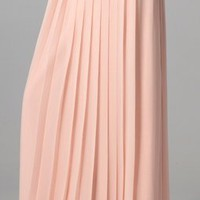 Tibi Long Silk Chiffon Pleated Skirt