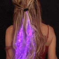 Starlight Strands Illuminating Fiber Optic Hair Extensions &amp; Rave Toy