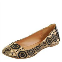 Satin Tribal Printed Ballet Flats
