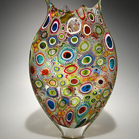 Mixed Murrini Foglio by David Patchen: Art Glass Vessel - Artful Home