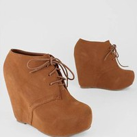 lace-up bootie wedge $27.50 in BLACK BLUE CAMEL CHSTNT FUCH ORANGE RED TAUPE - Wedges | GoJane.com