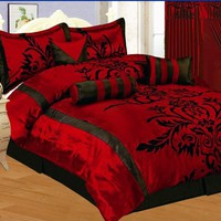 My Associates Store - 7 PC MODERN Black Burgundy Red Flock Satin COMFORTER SET / BED IN A BAG - QUEEN SIZE BEDDING