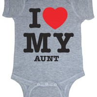 So Relative! I Love My Aunt (Red Heart) Heather Grey Baby Infant Short Sleeve Bodysuit Creeper (Hea