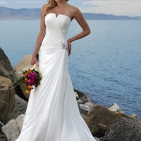 A-line Gown Little V Neckline Strapless Semi-CathedralTrain Chiffon Beach Wedding Dress