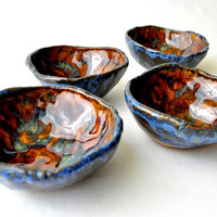 Small pottery bowls handmade hippie cups in baby by GlazedOver