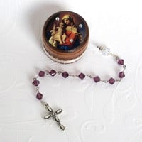 February Birthstone Rosary Set Pocket Rosary with Decorated Wood Box Amethyst Crystal Rosary Birthday Rosary with Box Madonna and Child