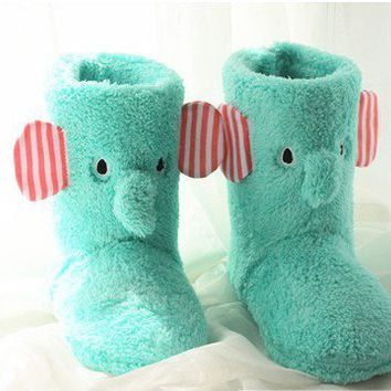 Cute Elephant Winter Indoor Boots for Women