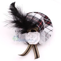 Fashion Plaid Hat&Flower&Feather Hair Barrette at Online Cheap Fashion Jewelry Store Gofavor