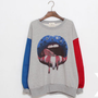 Loose lips pattern round neck hedging sweater