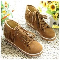 Fashionable and Casual Style Tassels and Rhinestone Embellished Shoes For Women