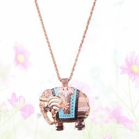 $6.99  Elegant Elephant Long Chain Pendant Necklace at Online Jewelry Store Gofavor