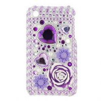 Rose Hard Back Case Cover for iPhone 3G/3GS (Purple)