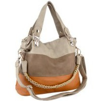 My Associates Store - ECE Beige Caramel Tri-tone Everyday Soft Leatherette Shoulder Chain Tote Bag Double Handles Shopper Hobo Handbag Satchel Purse
