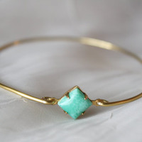 Turquoise Stone Bangle in Brass