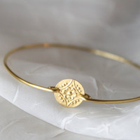 Brass Flower Filigree Charm Bangle