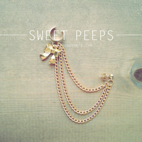 Gold Chain Ear Cuff with Bow Charm