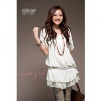 Layered Round Neckline Chiffon Half Sleeves Dress--Women's Dresses China Wholesale - Sammydress.com