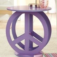 Peace Sign Purple End Accent Table Display Stand