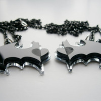 Best Friends Batman Necklaces -  Friendship Necklaces - Batman and Robin -  Laser Cut Acrylic - Engraved Heart