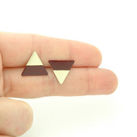 Minimalist Geometric Triangle Stud Earrings -  Maroon Burgundy Hand Dyed Modern Brass Jewelry
