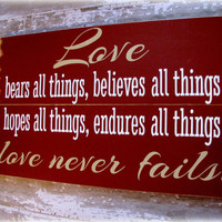 Typography Wall Art- Love Never Fails- Antiqued Plank Typography Sign- Christian-1 Corinthians 13
