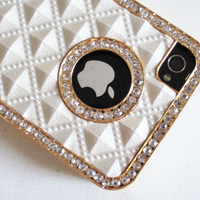 White Gold Luxury Rhinestone Diamond Bling Back Case Cover for iPhone 4 4G 4S