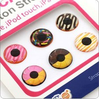 Touch Me! Button Stickers for iPhone, iPod and iPad (Donut)
