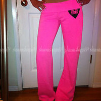 *VICTORIA'S SECRET LOVE PINK Vintage FITTED FLARE NEON PINK SWEAT PANTS RARE S
