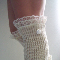Winter Whimsy and Romance Frilly Girlie Boot Socks Legwarmers Winter White With Off White Lace and Button