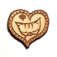 CAT BROOCH Heart Cameo- Wood(Birch) laser cut from a hand drawn illustration - cat jewelry Pin cat badge