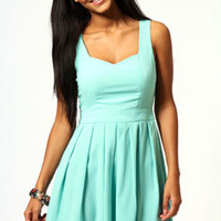 Carmel Heart Open Back Pleated Skirt Skater Dress